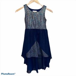 Emily Rose Navy Dress size 7 High/Low